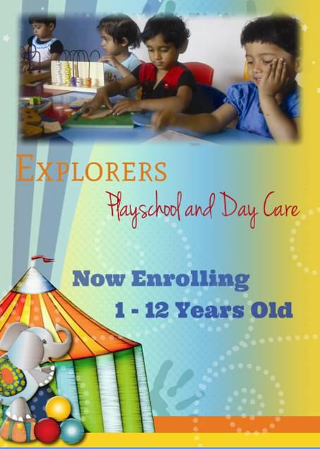 Admissions open starting at Explorers playschool and day care